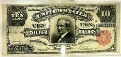U.s. - Series 1891 10.00 Silver Certificate Tombstone Note Great Condition