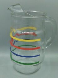 Libby Vintage Primary Color Striped Glass Pitcher With Ice Lip