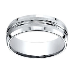 14k White Gold 7.00 Mm Comfort-fit Menand039s Wedding And Anniversary Band Ring Sz-13