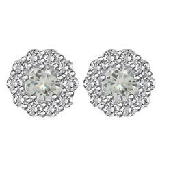 3 Ct Round Cut Genuine Moissanite Sterling Silver Halo Stud Earrings