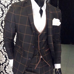 Very Classy Black Suit With Vest Braun Checked Fitted Matching Shirt 48