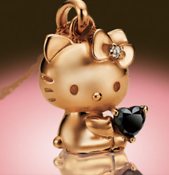 Hello Kitty Happy Diamond Heart 18k Pink Gold Jewelry Diamond Pendant