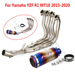 For Yamaha R1 Mt-10 2015-19 Full Exhaust Pipe Motorcycle Front Tube 61mm Muffler