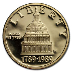 1989-w Gold 5 Commem Congressional Proof Capsule Only - Sku217866