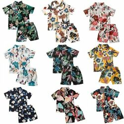 Infant Baby Boys Clothes Sets Floral Print Short Sleeve T Shirts Tops Shorts