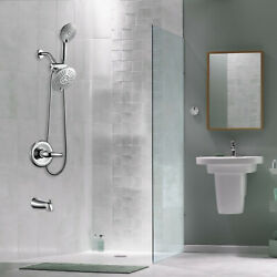 2 Shower Head System Chrome 5 Function Hand Shower And Tub Faucet Shower Combo