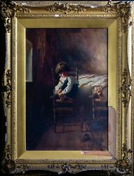 Antique Oil Painting 19th Century Florence Whitfield Boy With Shoe Gilt Framed