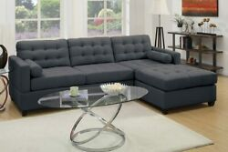 2pcs Modern Slate Black Fabric Reversible Chaise Sectional Sofa With Two Pillows