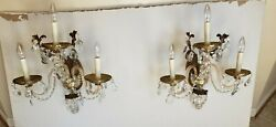 Vintage 3 Arm Brass Electric Crystal Prisms Chandelier Wall Sconces - Lot Of 2