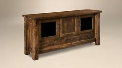 Amish 72 Rustic Mission Tv Console Cabinet Solid Rough Sawn Wood Glass Doors