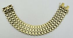 14k Yellow Gold Book Link Watch Style Wide Bracelet 7x3/4 36.6g S2383