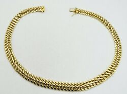 14k Yellow Gold Hollow Woven Tapered Figure 8 Link Dia Cut 16 12mm 28.1g S2384