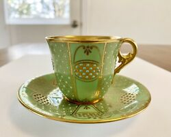 Antique Coalport Jeweled Green/turquoise/gold Demitasse Cup And Saucer Set