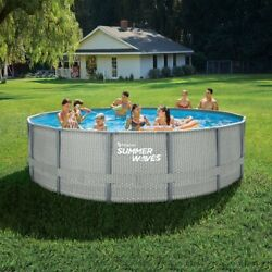 Summer Waves 16 Ft Natural Rattan Elite Frame Round Above Ground Swimming Pool