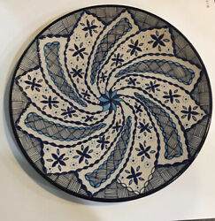 Javier Servin Mexico Pottery Plate Hand Painted Signed 11 Across W/ Hanger