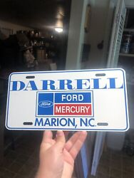 1980s Darrell Ford Dealership Booster License Plate Marion North Carolina Nc