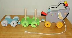 Vintage Les Papoum Pull Along Activity Elephant Toy By Moulin Roty Made N France