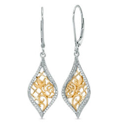 1/5 Ct Natural Diamond Rose Lace Drop Earrings In 14k Gold Sterling Silver
