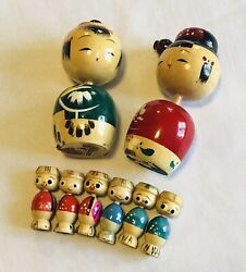 Vintage Small Large Hand Painted Wooden Kokeshi Dolls Japanese Japan Wobble Head