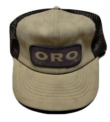 Vintage Oro Patch Cap Hat Trucker Snapback Agriculture Advertising Farmer Mesh