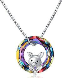 Pig Necklace 925 Sterling Silver 0.55 Volcano Crystal Circle Pendant Necklace
