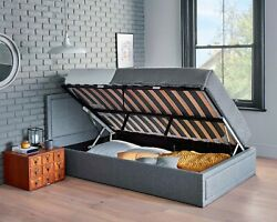 Side Lifting Ottoman Storage Bed Frame Grey Upholstered Bed And Sprung Mattress
