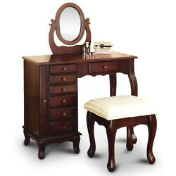 New Espresso Vanity Set Jewelry Armoire Dresser And Bench And Mirror