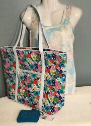 Vera Bradley Trimmed Vera Tote And Petite Zip-around Wallet Far Out Floral Bahama