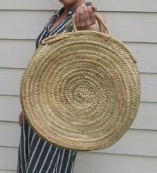 Round Straw Bag Beach Tote Moroccan Made Boho Summer Look $33.00