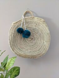 Round Straw Beach Bag Wool Pom Poms Moroccan Made French Basket Style $40.00