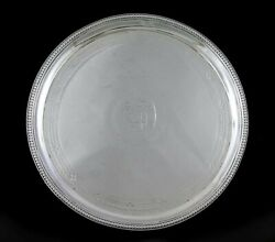 Antique 1779 English Georgian Sterling Silver Footed Salver Tray 7