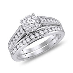 1.28 Ct Princess And Round Real Diamond Engagement Bridal Set Solid 14k White Gold