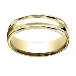 18k Yellow Gold 6mm Comfort-fit High Polished With Milgrain Band Ring Sz-10