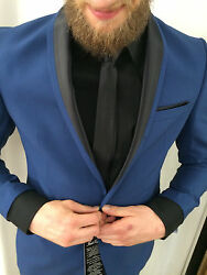 Designer Tuxedo Blue Black Fitted In The Set Matching Shirt Tie Size 48