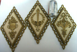 3 Vtg French Rococo Homco Floral Wall Plaques Floral Gold And Ivory 13 Tall 1971