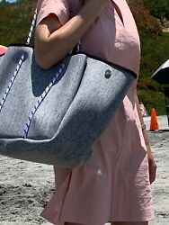 NEOPRENE TOTE BAG SET HEATHER GREY LARGE 3 POCKET TOTE ON SALE NEW FREE SHIP $49.99