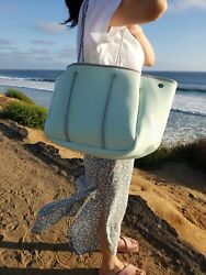 NEOPRENE TOTE BAG SET MINT LARGE 3 POCKET TOTE ON SALE NEW FREE SHIP $49.99