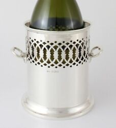 Antique Solid Sterling Silver Wine Bottle Holder Tall Coaster Mappin And Webb 1931