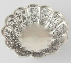 Antique Chinese Silver Shallow Flower Bowl. Small Dish Luen Wo C1880