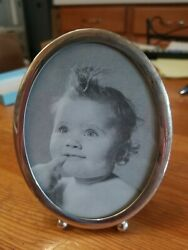 Vintage Sterling Silver Web Oval Photo Picture Frame Approximately 3 1/4 X 4 1/4