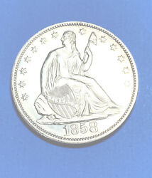 1858 Seated Liberty 1/2 Dollar Proof T-2 Only 80-100 Known To Exist Today