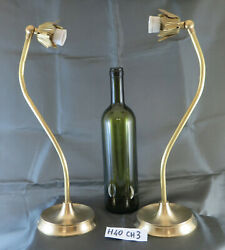 Couple Lamps Table Desk Lampshade Brass Vintage Made By Hand Ch3