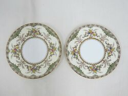 Vtg Set Of 2 Minton Chatham Green Ivory Bread And Butter Plates