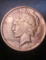 1921 Silver Peace Dollar, Rare Find In This Condition, Needed For Collectors