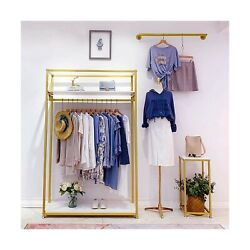 Metal Clothes Display Rack Free Standing Garment Clothing Rack With Wooden Sh...