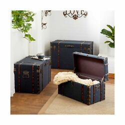 Deco 79 55789 Wood, Linen, Iron And Faux Leather Luggage Trunks, 24 X 28 X ...