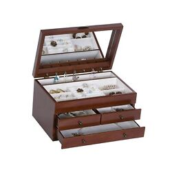 Mele And Co. Fairhaven Wooden Jewelry Box Ring Necklace And Earring Organizer