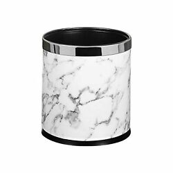 Pu Leather Metal Trash Can Small Office Wastebasket Double Cans Top Open With...