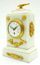 Antique French Ormolu White Marble Carriage Movement Clock Mantel 19th Century