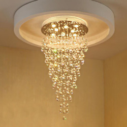 New Modern Led K9 Crystal Chandelier Lamp Round Lamp Hanging Lamps Room Stair L